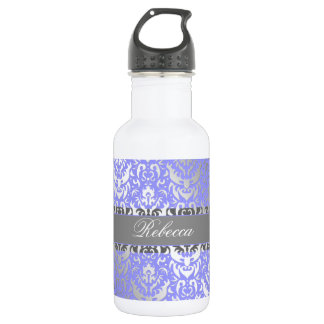 Purple Faux Shimmer Silver Damask with Your Name 532 Ml Water Bottle