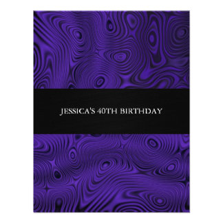 Purple Faux Silk Fabric Abstract Birthday Party Personalized Announcement