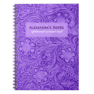 Purple Faux Suede Leather Embossed Flowers Notebook