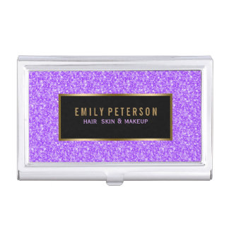 Purple Fax Glitter With Black And Gold Accents Business Card Holder