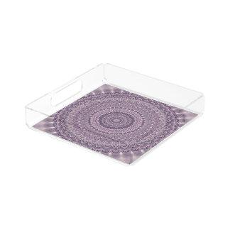 Purple feather mandala acrylic tray