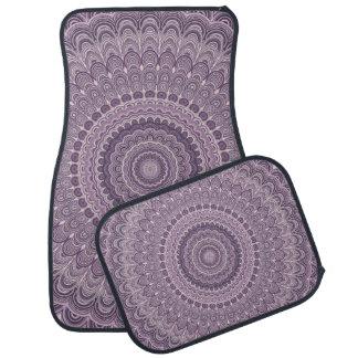 Purple feather mandala car mat