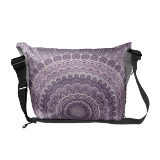 Purple feather mandala commuter bag