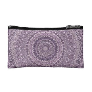 Purple feather mandala cosmetic bag