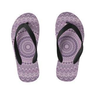 Purple feather mandala kid's thongs