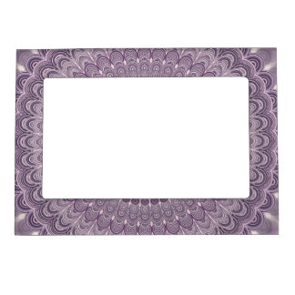Purple feather mandala magnetic picture frame