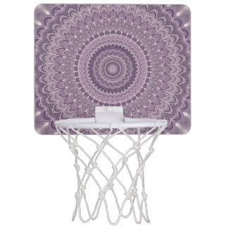 Purple feather mandala mini basketball hoop