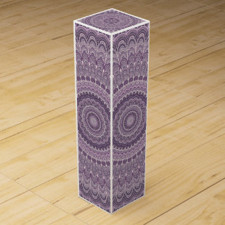 Purple feather mandala wine gift box