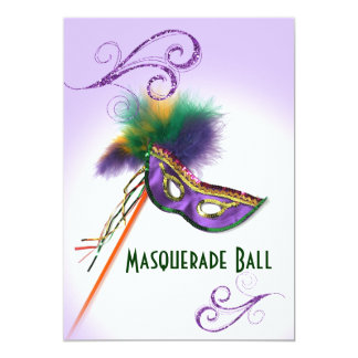 Purple Feather Mask Lavender Masquerade Party 5x7 Paper Invitation Card