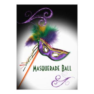 Purple Feather Mask Masquerade Party Announcement