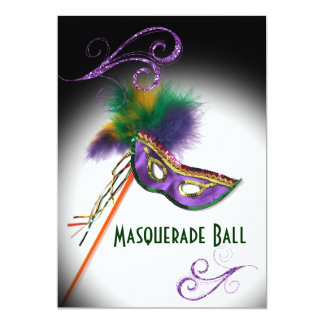 Purple Feather Mask Masquerade Party 5x7 Paper Invitation Card