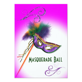 Purple Feather Mask Purple Masquerade Party Card
