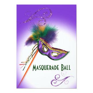 Purple Feather Mask Purple Masquerade Party 5x7 Paper Invitation Card