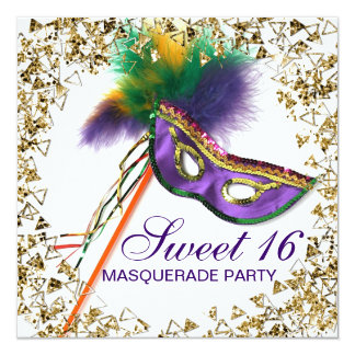 Purple Feather Mask Sweet 16 Masquerade Party 13 Cm X 13 Cm Square Invitation Card