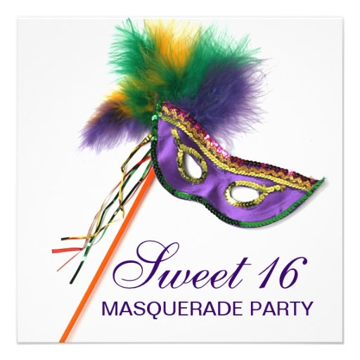 Purple Feather Mask Sweet 16 Masquerade Party Invite
