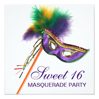 Purple Feather Mask Sweet 16 Masquerade Party 5.25x5.25 Square Paper Invitation Card