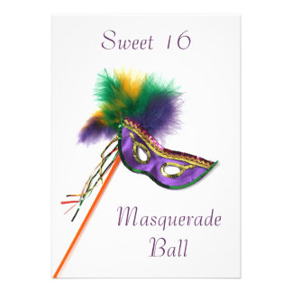 Purple Feather Mask Sweet 16 Masquerade Party Custom Invitations