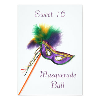 Purple Feather Mask Sweet 16 Masquerade Party 5x7 Paper Invitation Card
