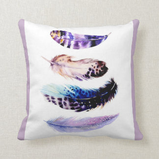Purple Feather Watercolour Throw Cushion