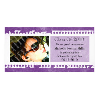 Purple Film Frame Grunge Graduation Photo Card