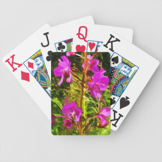 Purple Fireweed Alaska Wildflower Abstract Bicycle Playing Cards