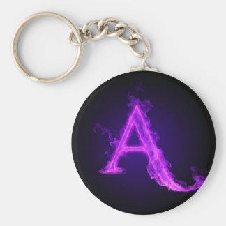 Purple flame alphabet basic round button key ring
