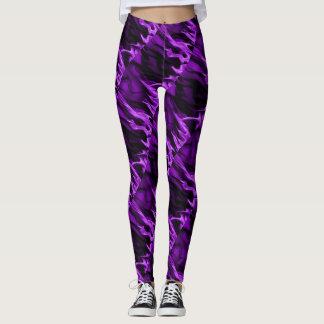 Purple Flame and Black Leggings
