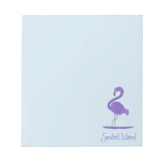Purple Flamingo Painting - Cape Coral Fine Art Notepad