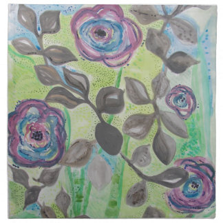 Purple Fleck Flowers with Grey Accents Napkin