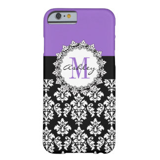 Purple Fleur de Lis Black Damask Monogrammed Barely There iPhone 6 Case