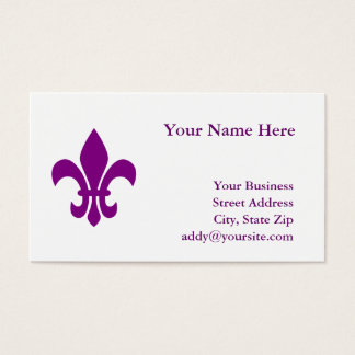 Purple Fleur de Lis Business Card