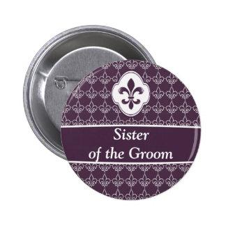 Purple Fleur de Lis Chain Wedding Party Buttons