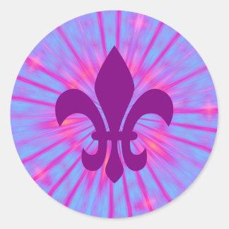 Purple Fleur de Lis Classic Round Sticker