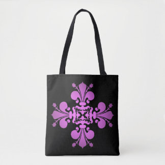 Purple fleur de lis cross tote bag