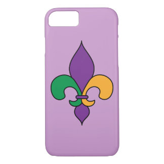 Purple Fleur de Lis Mardi Gras iPhone 7 Case