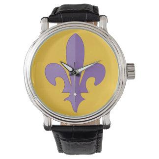 Purple fleur de lis on gold vintage strap watch