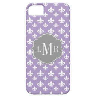 Purple Fleur De Lis Pattern Monogram iPhone 5 Case