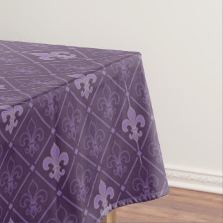 Purple Fleur de Lis Pattern Tablecloth