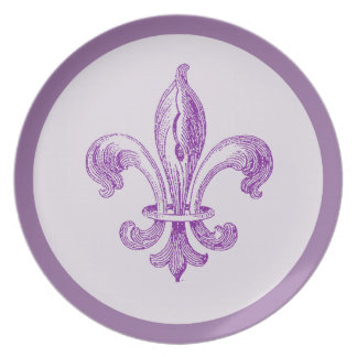Purple Fleur de Lis Plate