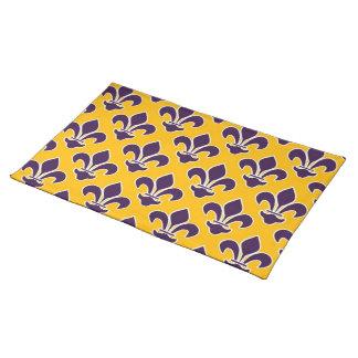 Purple Fleurs De Lis on Gold Placemat