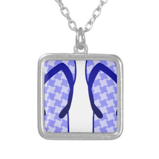 Purple Flip Flops Silver Plated Necklace