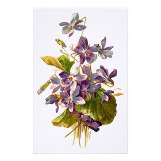 Purple Flora Customized Stationery