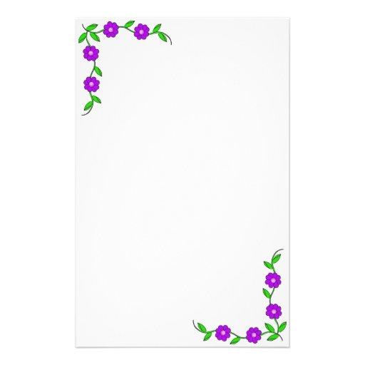 Purple Flora Stationary Stationery