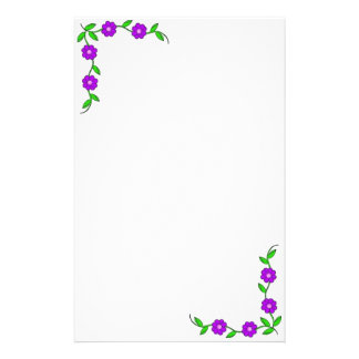 Purple Flora Stationary Stationery Design