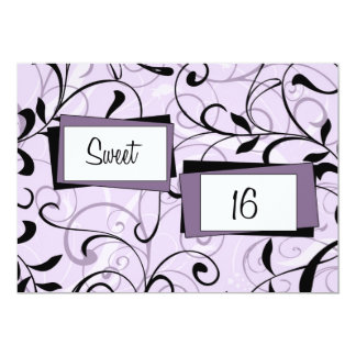Purple Floral 16th Birthday Party Invitation Cards