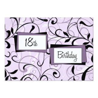 Purple Floral 18th Birthday Party Invitation Cards