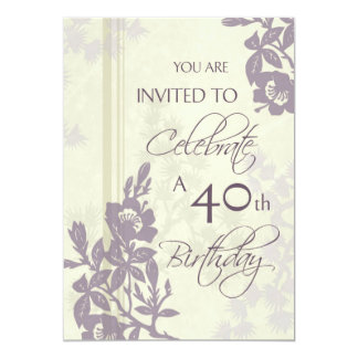 Purple Floral 40th Birthday Party Invitation Cards