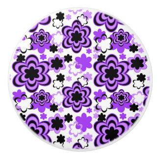 Purple Floral Abstract Teen Girl Dresser Drawer Ceramic Knob