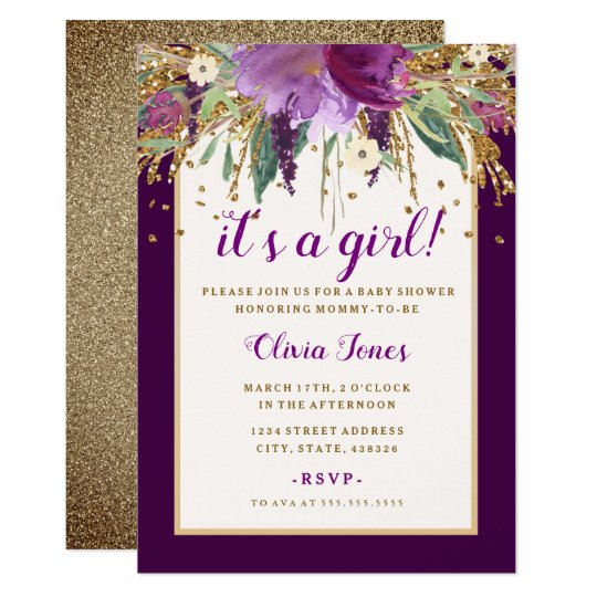 Purple Floral Amethyst Baby Shower Invitation
