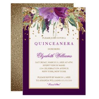 Purple Floral Amethyst Quinceanera Invitation